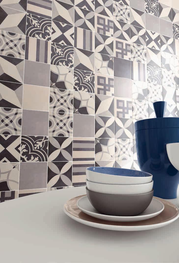 Keuken tegels patroon en patchwork Recer Tegels Grijs Wit