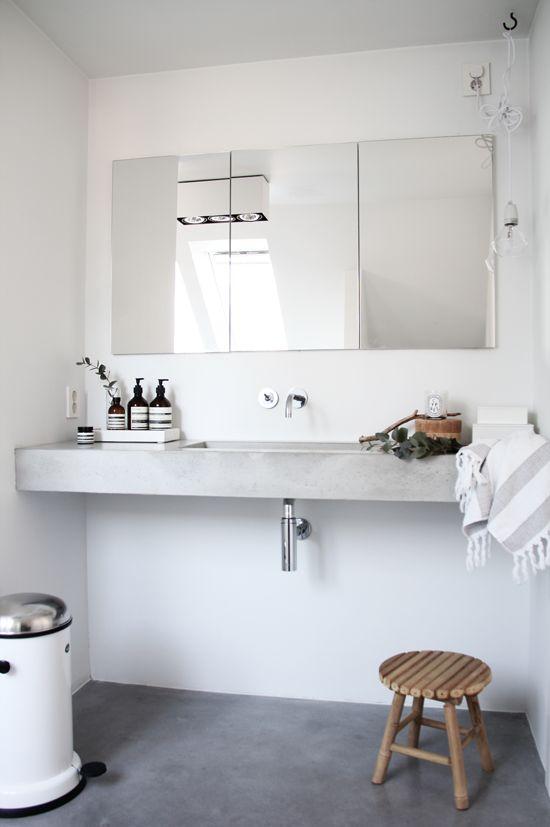 Betonlook vloer in badkamer