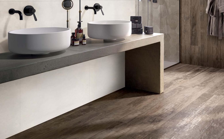 badkamer tegels hout