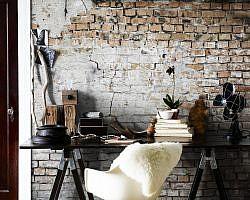 Oude bakstenen muur interieur
