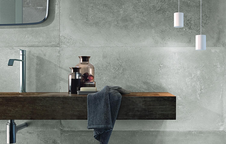 Badkamer Betonlook tegels van Flaviker