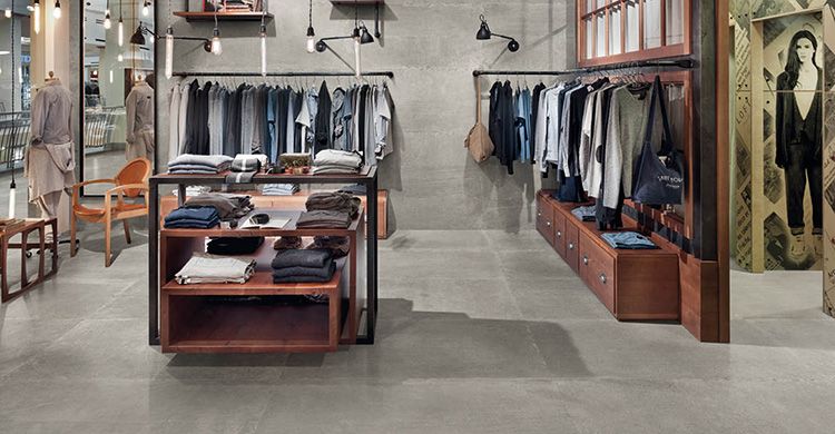 Betonlook tegels kledingwinkel van Portazul