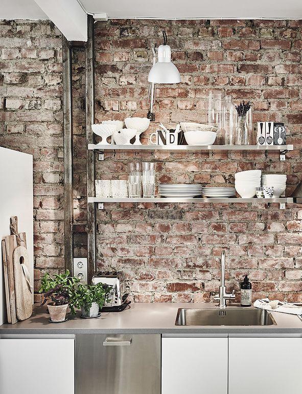 Brick Wall Keuken Oude bakstenen Keuken
