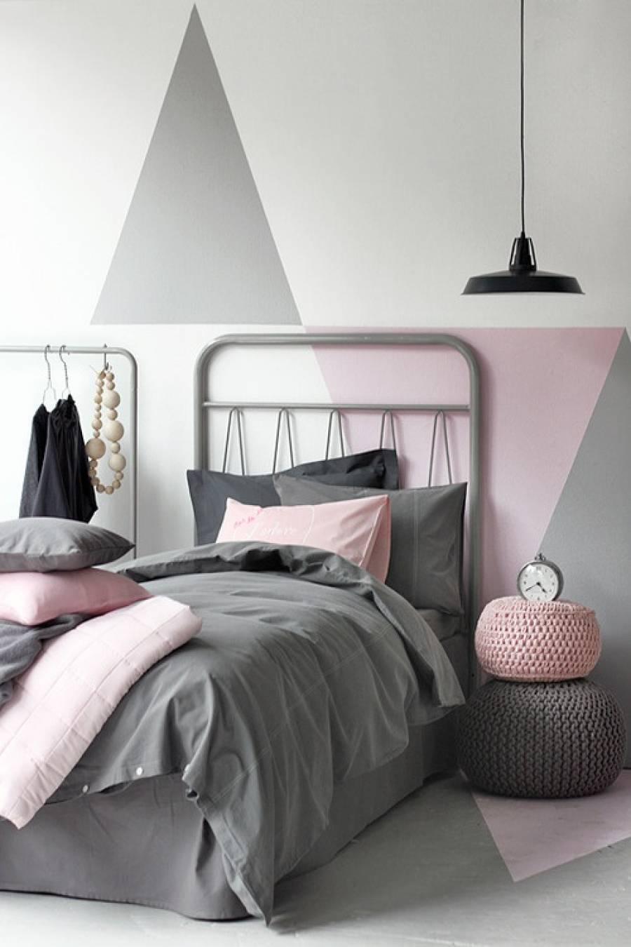 Slaapkamer ideeën grijs en roze