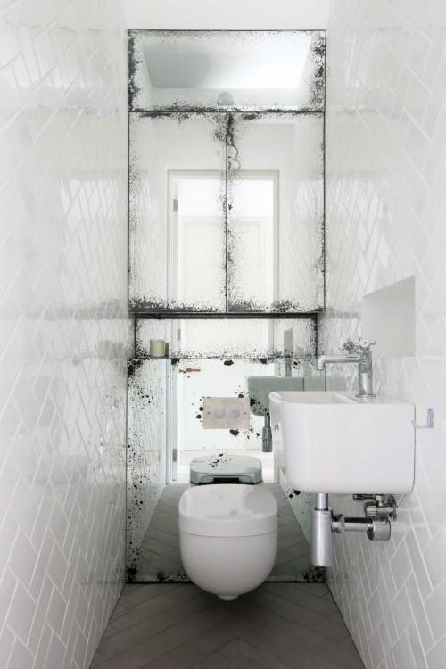 Visgraat Tegels Muur Wit Toilet Visgraat Vloer
