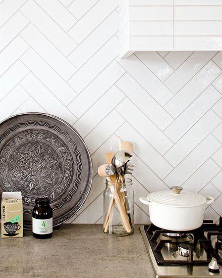 Visgraat Tegels Wand Wit Beige Grijze Voeg Keuken