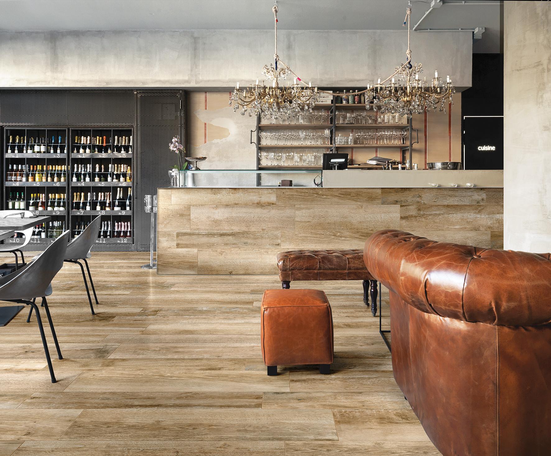 Vloertegels woonkamer houtlook