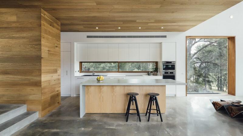 Houten keuken betonnen vloer - Stoere Keuken