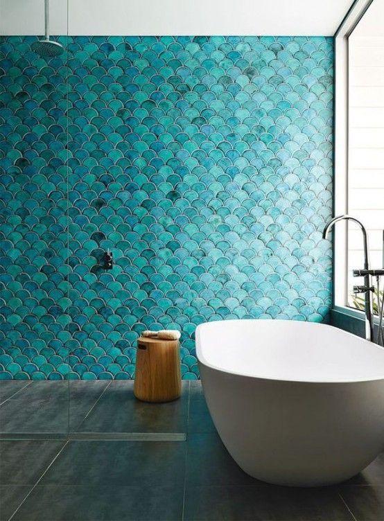 Schubben Tegels Wand Badkamer Groen Blauw